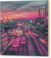 Street Scenes Around Las Vegas Nevada At Dusk Wood Print