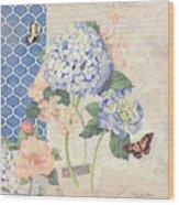 Summer Memories - Blue Hydrangea N Butterflies Wood Print