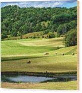 Summer Morning Hay Field Wood Print