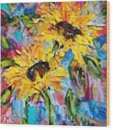 Sunflower Joy Wood Print