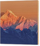 Sunrise On Mount Kanchenjugha At Dawn Sikkim Wood Print