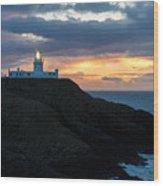Sunset At Strumble Head Lighthouse Wood Print