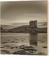 Sunset Over Castle Stalker,  Scotland, United Kingdom Wood Print