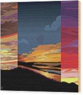 3 Sunsets Wood Print