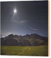 Swiss Alps In The Night Wood Print