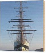 Tall Ship Anchored Off Penzance Wood Print