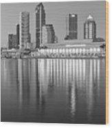 Tampa Bay Black And White Wood Print