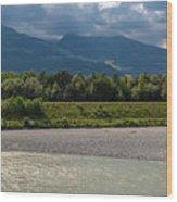 The River Rhine Between Liechtenstien And Switzerland Wood Print
