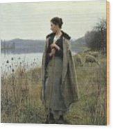 The Shepherdess Of Rolleboise Wood Print