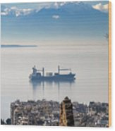 Thessaloniki With View Of Olympus Wood Print