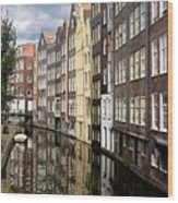 Traditional Canal Houses In Amsterdam. Netherlands. Europe Wood Print