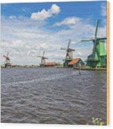 Traditional Dutch Windmills At Zaanse Schans, Amsterdam Wood Print