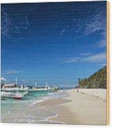 Traditional Filipino Ferry Taxi Tour Boats Puka Beach Boracay Ph Wood Print