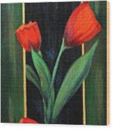 3 Tulips Wood Print