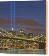 Twin Towers Of Light Wood Print