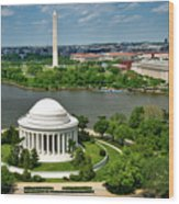 View Of The Jefferson Memorial And Washington Monument Wood Print