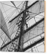 Vintage Style Picture Of Beautiful Sail Boat Details. Rope, Hull Wood Print