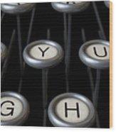 Vintage Typewriter Keys Close Up Wood Print