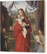 Virgin And Child With Four Angels Wood Print