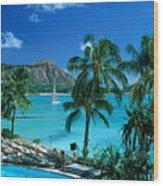 Waikiki And Diamond Head Wood Print