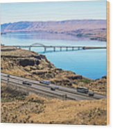 Wanapum Lake Colombia River Wild Horses Monument And Canyons Wood Print