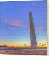 Washington Monument Sunset Wood Print