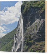 Waterfall In Geiranger Norway Wood Print