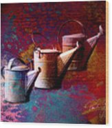 3 Watering Cans No.1 Wood Print