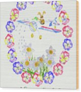 Welcome Spring. Rabbit And Flowers Wood Print