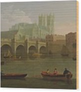 Westminster Abbey And Bridge Wood Print