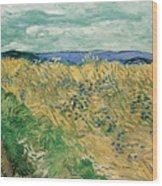 Wheat Field With Cornflowers Wood Print