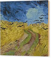 Wheat Field With Crows Wood Print