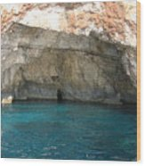 White Cliffs And Attractive Blue Caves On Island Of Zakinthos Sh Wood Print