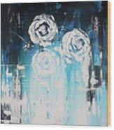 3 White Roses Wood Print