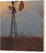 Windmill At Dusk Wood Print
