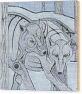 3 Wolves Wood Print