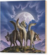 3 Wolves Mooning Wood Print