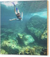 Woman Free Diving Wood Print