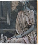 Woman In Bronze Statue Look With Patina Body Paint Wood Print