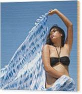 Woman In Sarong Wood Print