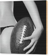 Woman With A Football Wood Print