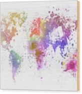 World Map Painting Wood Print