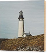Yaquina Head Lighthouse - Toned By Texture Wood Print