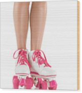 Young Woman Wearing Roller Derby Skates Wood Print