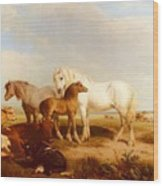 Willis Henry Brittan Horses And Cattle On The Shore Henry Brittan Willis Wood Print