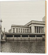 30th Street Station From The River Walk In Sepia Wood Print