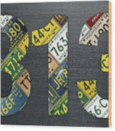 313 Area Code Detroit Michigan Recycled Vintage License Plate Art Wood Print