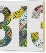 313 Area Code Detroit Michigan Recycled Vintage License Plate Art On White Background Wood Print