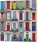 32 Front Doors Horizontal Collage  Wood Print by Richard Thomas