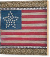 33 Star American Flag. Painting Of Antique Design Wood Print